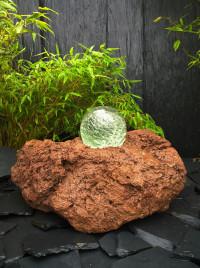 Lava Quellstein mit drehender Glaskugel 15cm