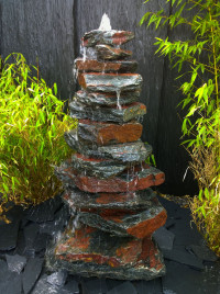 Kaskaden Brunnen schwarz-roter Schiefer 110cm