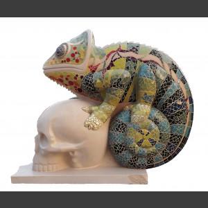 Chameleon 1, limestone, tile mosaic