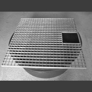 PE-Becken rund mit Abdeckgitter 80cm eckig