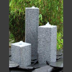 Quellstein 3er Set grauer Granit viereckig 50cm1