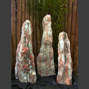 3 Monolithen Quellsteine weiß-rosa Marmor 115cm