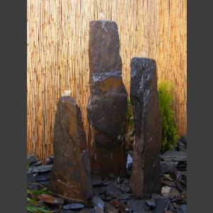 3 Quellstein Säulen grau-schwarzer Schiefer 150cm