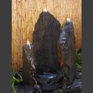 Triolithen Quellsteine grau-schwarzer Schiefer 95cm