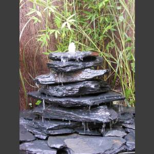 Kaskaden Brunnen grau-schwarzer Schiefer 7stufig