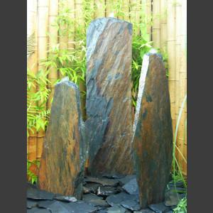 3 Quellstein Säulen grau-brauner Schiefer 120cm1