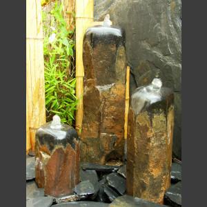 3er Gruppe Basaltsäulen Quellsteine poliert 50cm1