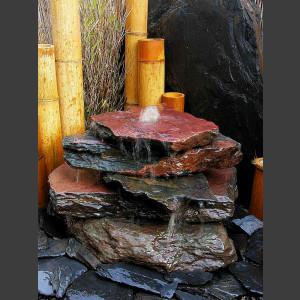 Kaskaden Brunnen schwarz-roter Schiefer 5stufig1