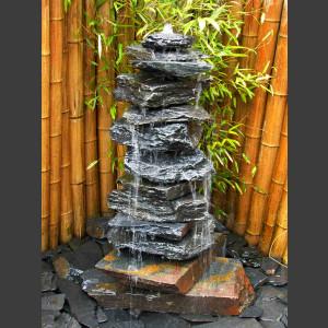 Kaskaden Quellstein Turm grauu-schwarzer Schiefer 12teilig