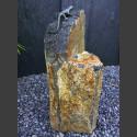Bronze Figur Eidechse auf Basaltsäule