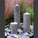 3 Obelisken Brunnenset grauer Granit rund 50cm