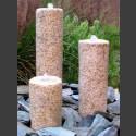Quellstein 3er Set gelber Granit rund 50cm