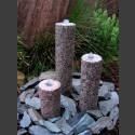 Quellstein 3er Set roter Granit rund 50cm