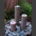 3 Obelisken Brunnenset roter Granit rund 50cm