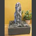 Zimmerbrunnen Marmor Monolith in 4eckigem Granitbecken