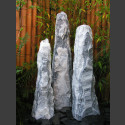 Marmor Brunnen 3er Set weißgrau bruchrau 120cm