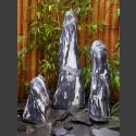 3 Monolithen Quellsteine schwarz-weißer Marmor geschliffen 85cm