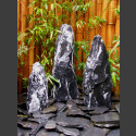 3 Monolithen Quellsteine schwarz-weißer Marmor bruchrau 75cm