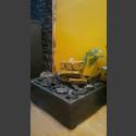 Zimmerbrunnen Sandstein Kaskade beige 3fach in 4eckigem Granitbecken