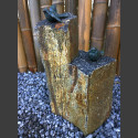 Bronze Figur mit 2 Singvögeln auf Basaltsäule