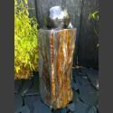 Schiefer Monolith Quellsteinbrunnen mit drehender Marmorkugel 18cm