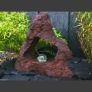 Lava Quellstein mit Durchbruch und drehender Glaskugel 10cm