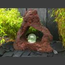 Lava Quellstein mit Durchbruch und drehender Glaskugel 15cm