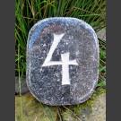 Naturstein Hausnummer grau-schwarz geschliffen