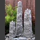 3 Obelisken Brunnenset grauer Granit bruchrau 150cm