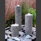 Quellstein 3er Set grauer Granit rund 50cm