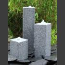 Quellstein 3er Set grauer Granit viereckig 50cm