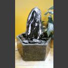 Zimmerbrunnen geschliffener Marmor schwarz-weiß in Granitbecken