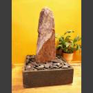 Zimmerbrunnen Schiefer Monolith rotbunt in 4eckigem Granitbecken