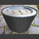 Flechtkorb schwarz mit 66cm GFK-Becken und GFK-Abdeckung