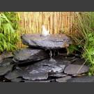 Kaskaden Quellstein grau-schwarzer Schiefer 3teilig