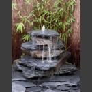 Kaskaden Quellstein grau-schwarzer Schiefer 7teilig