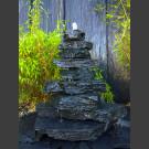 Kaskaden Quellstein Turm grau-schwarzer Schiefer 85cm