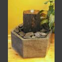Fontaine d'intérieur set  Monolith schiste gris-brun en bassin de granit hexagonal