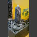 Fontaine d'intérieur set Bloc erratique gris-noire 35cm en bassin de granit carré