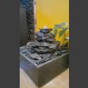 Fontaine d'intérieur set cascade gris-noire 5 pièces en bassin de granit carré