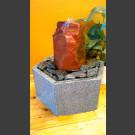 Fontaine d'intérieur set grès rouge en bassin de granit hexagonal