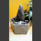 Fontaine d'intérieur set Bloc erratique gris-noire 25cm en bassin de granit hexagonal