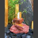 Cascade á fontaine de jardin grès rouge 3 pièces