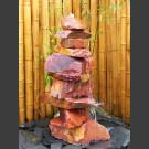 Cascade á fontaine de jardin grès rouge 10 pièces