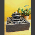 Indoor Fontein Set Cascade grijs zwart leisteen 3 delige in vierkant Granieten Bak