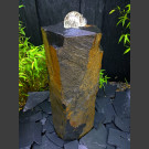 Bronsteen Basaltzuile met rotierende glas bal 10cm