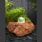 Lava Bronsteen met roterende glas bal 15cm